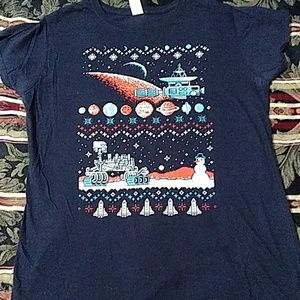 Mars rover ugly Christmas sweater tee in 8-bit